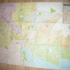 Harta Bucurestiului RPR ,dim= 97x68 , legenda patata