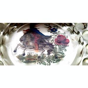 Scrumiera sticla cristal masiv 1kg pictata mana  cadou  antichitati