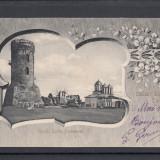 TARGOVISTE  SALUTARI DIN TARGOVISTE  RUINELE CURTEA DOMNEASCA  CLASICA CIRC.1904, Circulata, Printata