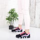 Pantofi sport Midali negri cu roz