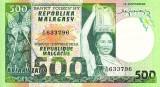MADAGASCAR █ bancnota █ 500 Francs = 100 Ariary █ 1974 █ P-64 █ UNC necirculata