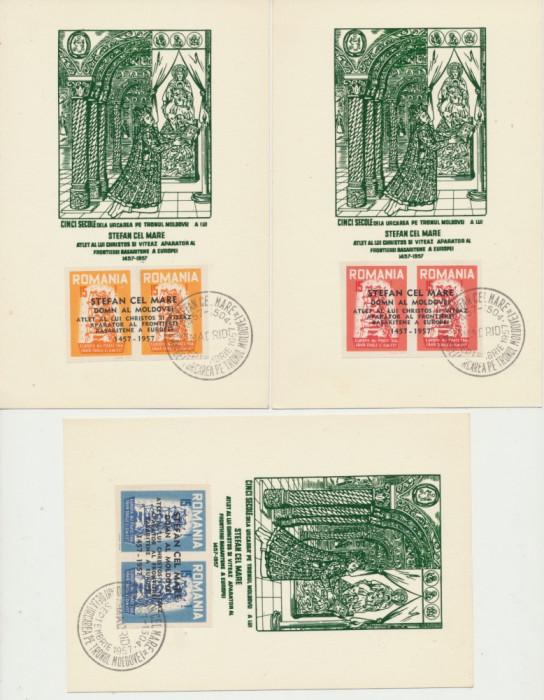 Romania Exil 1957 set 3 ilustrate FDC sursarj Stefan cel Mare perechi nedant.