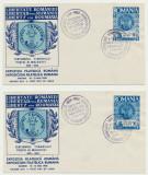 Romania Exil 1958 set 2 plicuri FDC Centenar Cap de Bour dant & nedantelat, Sport