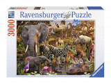 PUZZLE ANIMALE DIN AFRICA, 3000 PIESE, Ravensburger
