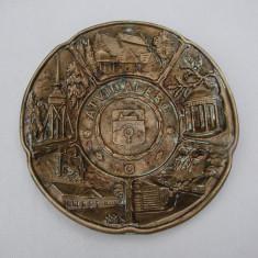 Superba farfurie din bronz masiv - provenienta suedeza 1947, Ornamentale