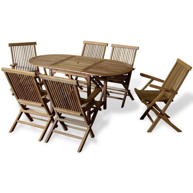 Set mobilier exterior cu masa extensibila din tec, patru piese foto mare