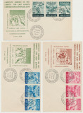 Romania Exil 1959 set 3 FDC tripticuri detinuti politici Libertate Europa de Est