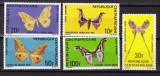 Africa  Centrala  1969  fauna  fluturi  MI 183-187   MNH w51, Nestampilat