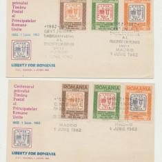 Romania Exil 1963 set 2 FDC Centenar timbre Principatele Unite dantelat & ndt.