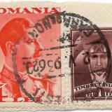 Carol II uzuale, 1934, 4 lei + Timbrul aviatiei, 1932, 1 leu, obliterate (2), Regi, Stampilat