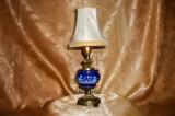 Veioza mica, portelan cobalt, bronz, stil Baroc Victorian, vintage