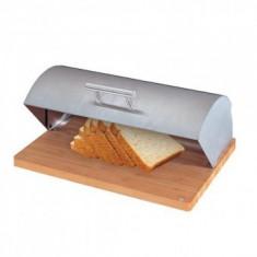 Recipient pentru paine cu tocator din lemn, Strend Pro Easyhome BB-100, dimensiune 39x28x16 cm