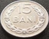 Moneda 15 Bani - RS ROMANIA, anul 1975  *cod 4253 = XF + LUCIU INTEGRAL, Aluminiu