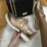 Pantofi dama roz auriu marime 37,  40+CADOU, Cu talpa joasa