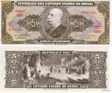 + Bancnota UNC Brazilia 5 cruzeiros 1964 +