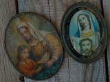 Cumpara ieftin LOT 2 ICONIȚE RELIGIOASE CATOLICE DE PERETE VECHI DIN ANII 1900, RAME DIN ALAMĂ!