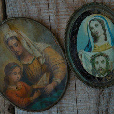 LOT 2 ICONIȚE RELIGIOASE CATOLICE DE PERETE VECHI DIN ANII 1900, RAME DIN ALAMĂ!
