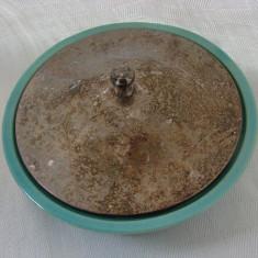 Bomboniera din portelan suedez Ekeby cu capac argintat, Decorative