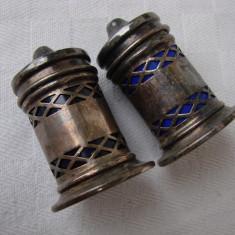 Frumos set de doua sararite englezesti - anii 1920 - Argint, Set tacamuri
