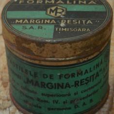 CUTIE DE TABLĂ PASTILE DE FORMALINĂ - MARGINA REȘIȚA SAR - PERIOADA INTERBELICĂ! - Cutie Reclama