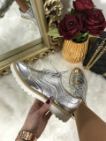 Pantofi dama argintii marime  39, 41+CADOU, Din imagine, Cu talpa joasa