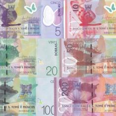 Bancnota Sao Tome si Principe 5 - 200 Dobras 2016 (2018) - PNew UNC ( set x6 ) - bancnota africa