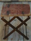 SCAUN PESCĂRESC / DE PESCAR - RABATABIL / PLIABIL, FIER ȘI PLACAJ, FOARTE VECHI!