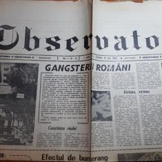 "Ziarul observator 30 iunie 1990 - articolul "" gangsteri romani """