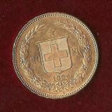 Moneda AUR 20FR -1896-CONFEDERATIO HELVETICA - 6,45 gr. ultimul an tip LIBERTY, Europa