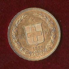 Moneda AUR 20FR -1896-CONFEDERATIO HELVETICA - 6, 45 gr. ultimul an tip LIBERTY, Europa