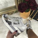 Adidasi dama argintii cu platforma marime   38, 40+CADOU