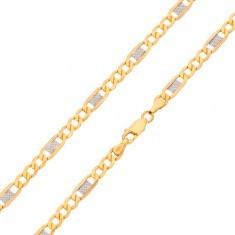 Lanț din aur 585 - trei zale ovale, zale bicolore cu caneluri, 500 mm - Lantisor aur