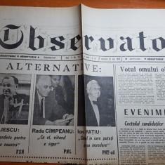 Ziarul observator 20 mai 1990 -ziua primelor alegeri libere dupa comunism