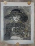 Floriana cu palaria matusii// gravura, Peisaje, Ulei, Realism