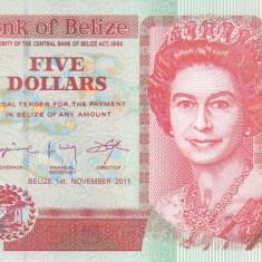 Bancnota Belize 5 Dolari 2011 - P67e UNC - bancnota america
