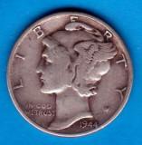 (A218) MONEDA DIN ARGINT SUA - ONE DIME 1944, FARA LITERA, MERCURY, NECURATATA, America de Nord