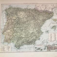 Veche harta inceput de secol XX Spanien und Portugal / Spania si Portugalia !