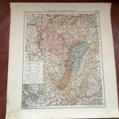 Veche harta inceput de secol XX Reichsland Elsass Lothringen / Alsacia si Lorena