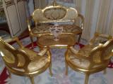 Salonas frantuzesc/canapea cu fotolii si masuta,stil baroc/rococo/Ludovic, Sufragerii si mobilier salon, Dupa 1950