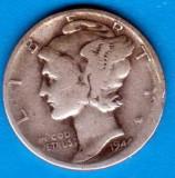 (A253) MONEDA DIN ARGINT SUA - ONE DIME 1944, FARA LITERA, MERCURY, NECURATATA, America de Nord