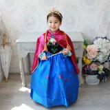 Rochie/rochita printesa Anna- Frozen cu pelerina/ petreceri tematice, 3-4 ani, 4-5 ani, 6-7 ani, 7-8 ani, 8-9 ani, Din imagine