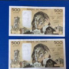 2 bancnote 500 franci franta 1989 consecutive au-unc