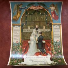 Certificat de casatorie biserica catolica anul 1931 model deosebit !, Documente