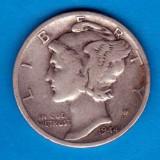 (A208) MONEDA DIN ARGINT SUA - ONE DIME 1944, LIT. D, MERCURY, NECURATATA, America de Nord