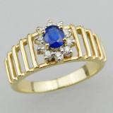 Inel Aur 14K Vintage Cu Piatra Safir Si Briliante Si Act Provenienta