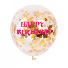 Baloane confetti Happy BIrthday roz - Baloane copii Disney