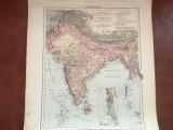 Veche harta inceput de secol XX Vorderindien / India !