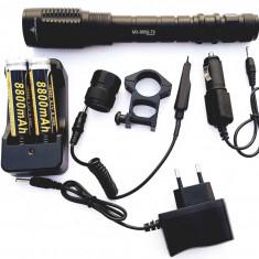Lanterna arma airsoft pusca vanatoare T6 acumulatori LiIon 8800mAh 80000w 8669