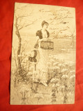Ilustrata- Femeie cu Colivie , circ. 1907 de la Vath - la Rm.Sarat, Circulata, Printata