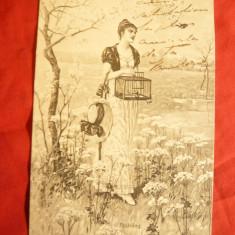 Ilustrata- Femeie cu Colivie, circ. 1907 de la Vath - la Rm.Sarat - Carte postala tematica, Circulata, Printata